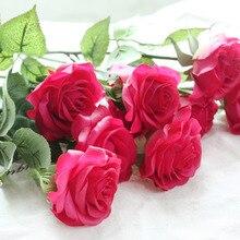 8 teile/los Neue Jahr Geschenk Real Touch Rose Decor Rose Künstliche Blumen Seidenblumen Latex Hochzeit Bouquet Party Geburtstag Blumen
