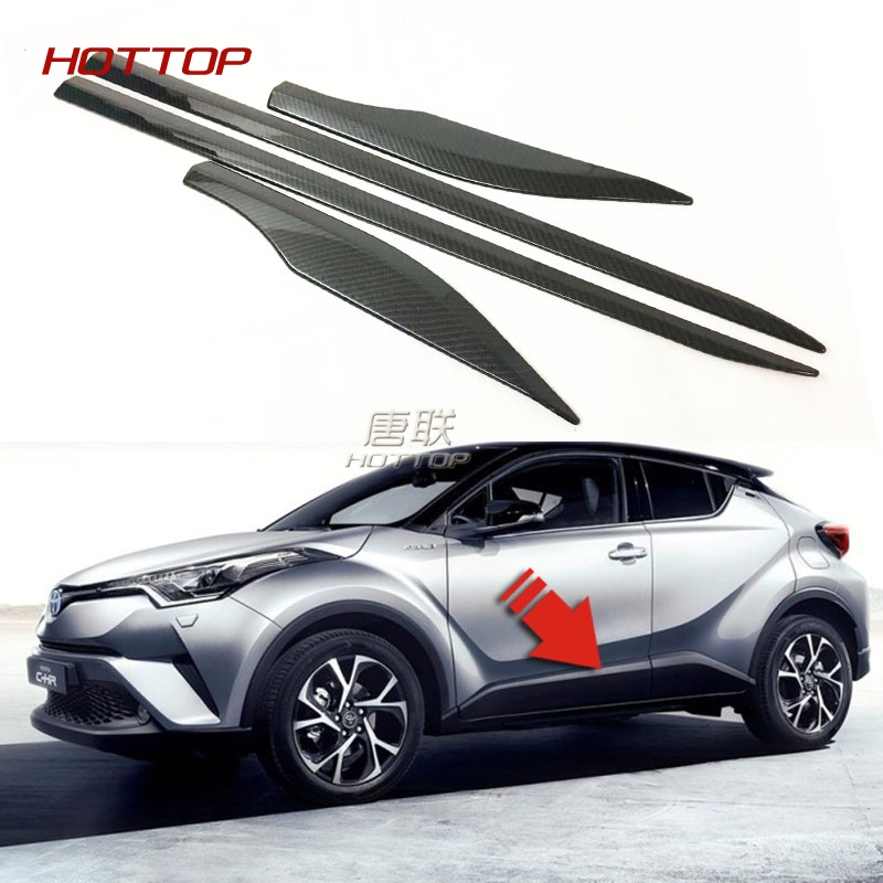 4PCS ABS Chrome Door Body Side Trim Cover Molding FOR Toyota C-HR CHR 2016 2017 2018 Car Accessories Styling accessories for chevrolet camaro 2016 2017 abs carbon fiber style the co pilot central control strip molding cover kit trim