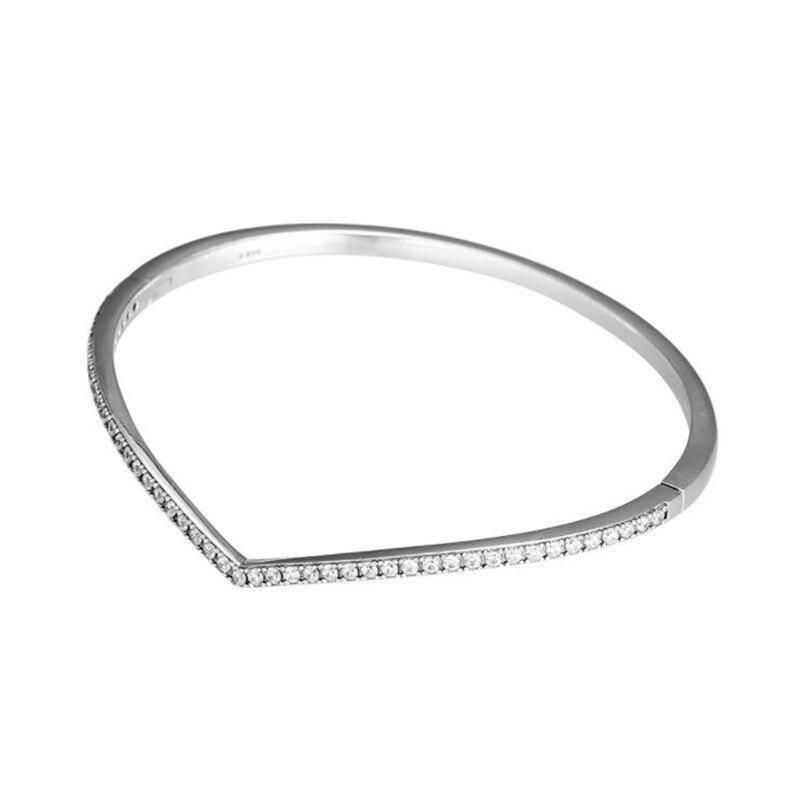 PANDULASO 2019 printemps chatoyant souhait Bracelet Bracelet charmes argent 925 Original Wishbone Bracelets Bracelets femmes bijoux-in Bracelets from Bijoux et Accessoires    1