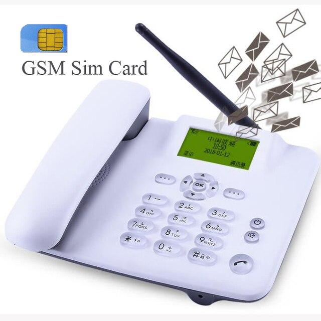 GSM 900/1800 mhz Cartão SIM Suporte Do Telefone Fixo Telefone Fixo telefone Fixo Sem Fio de Telefone do escritório para casa preto branco sem fio
