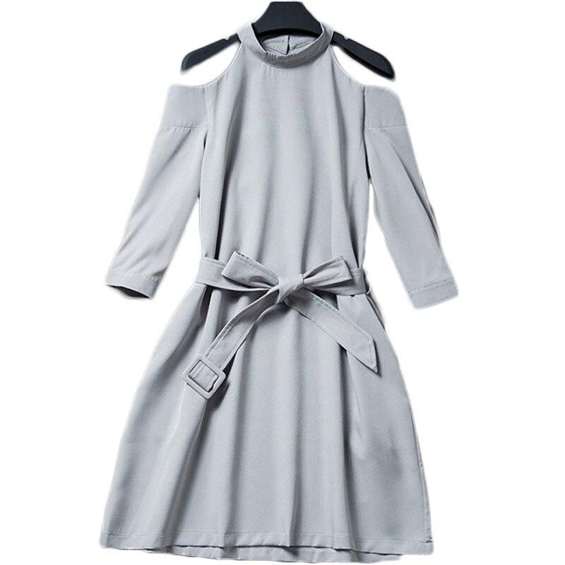 Women O Neck Off Shoulder Long Sleeve Gray Mini A line Dress WIth Belt