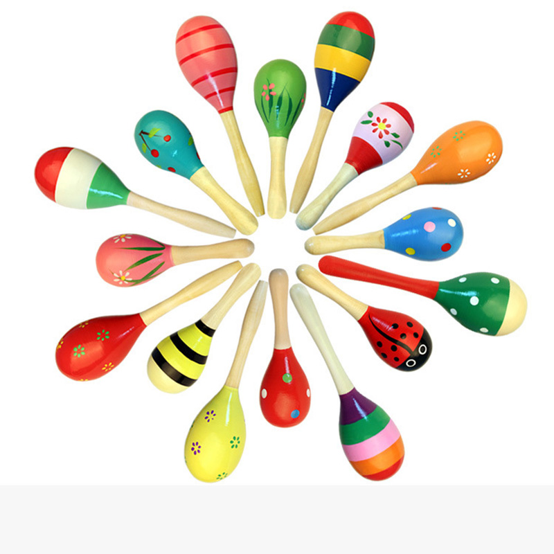 1pcs Colorful Wooden Maracas Big Size And Small Size Baby Child Musical Instrument Rattle Shaker Party Children Gift Toy