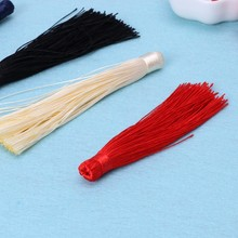 "Terylene 10pcs 4"" Handmade Silky DIY Long Tassels Pendant Chains Bag Accessories(China)"