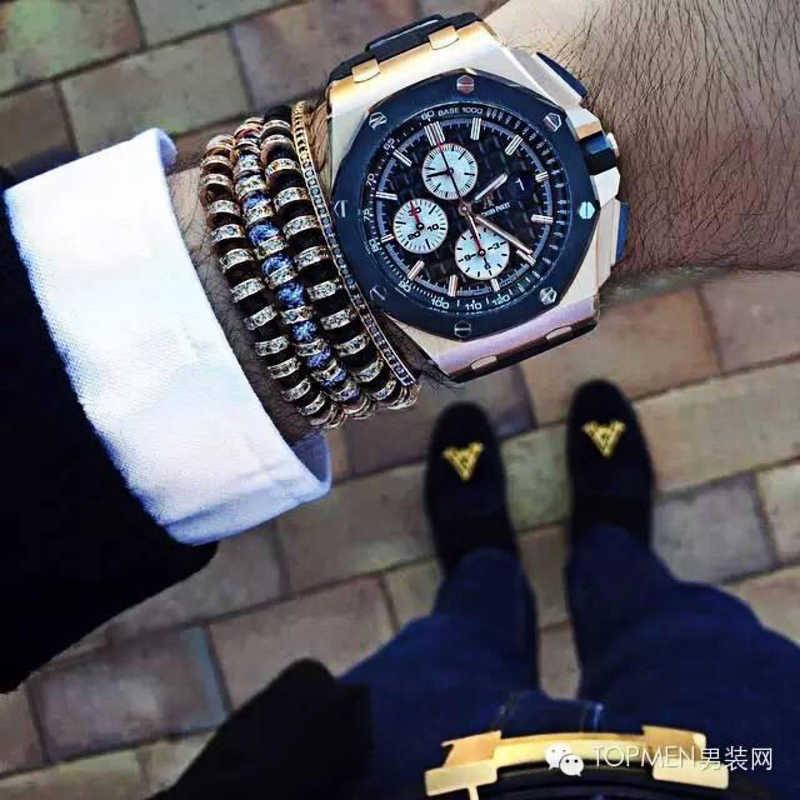 Mcilroy męskie bransoletki zroszony tkania haute couture trwałość mikro wkładka cyrkon CZ 7mm korki koraliki Macrame plecionki bileklik
