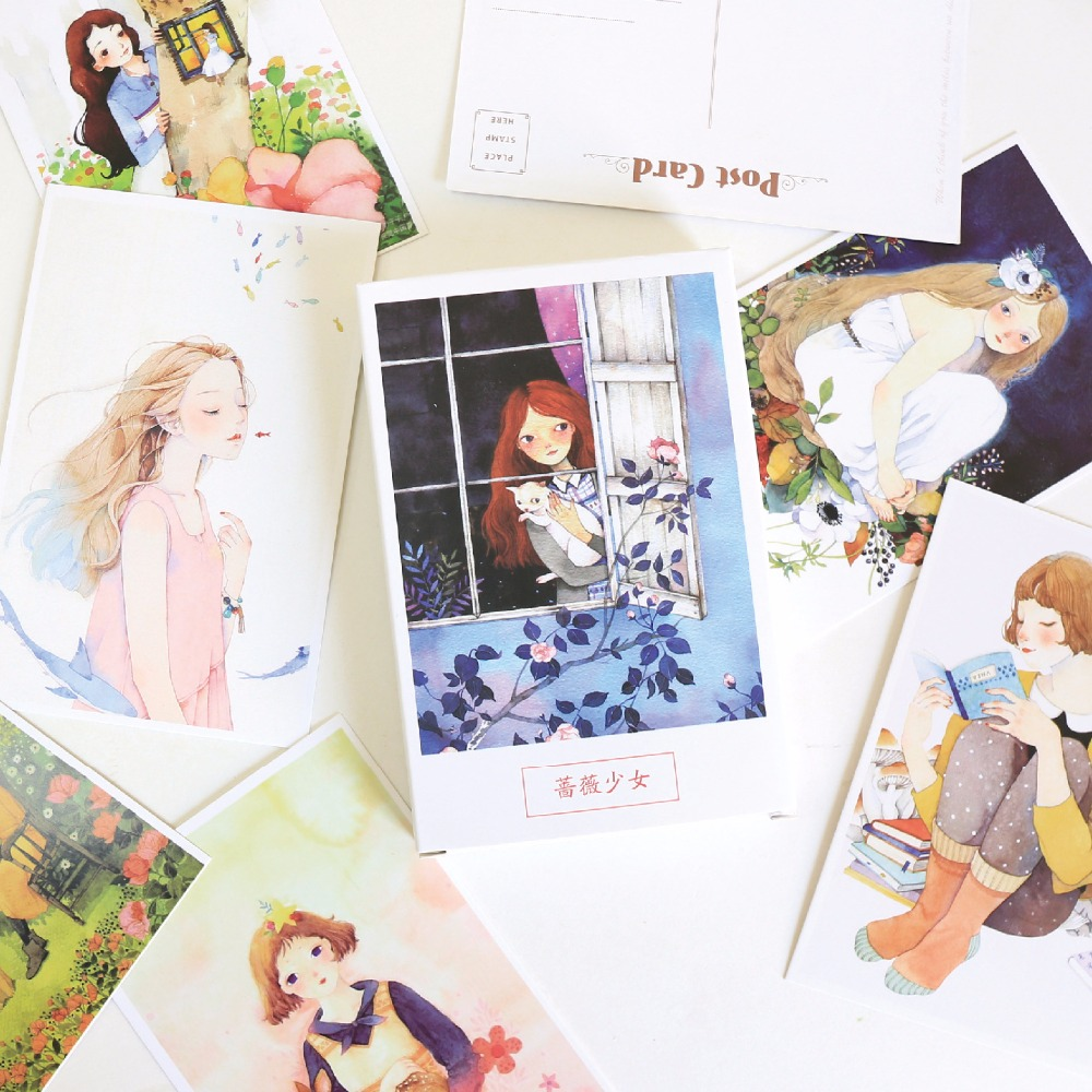 30 Sheets/Set Beautiful Rozen Maiden Postcard/Greeting Card/Message Card/Birthday Letter Envelope Gift Card(China)
