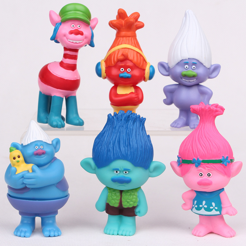 New Hot 6pcs/set 2016 DREAMWORKS Movie Trolls Poppy Branch Biggie PVC Figures Doll Toy Christmas Troll Gifts toys for children image