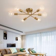 Modern sputnik chandelier lighting fixture Nordic Semi flush mount ceiling lamp Brushed Antique Gold Lighting 6-light home decor
