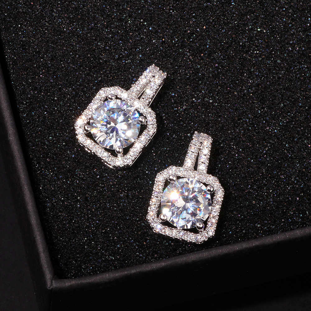 51a20225b ... OL Style Luxury Square Austrian Clear Cubic Zirconia Earrings for Women  Fashion Party Elegant Wedding Stud ...