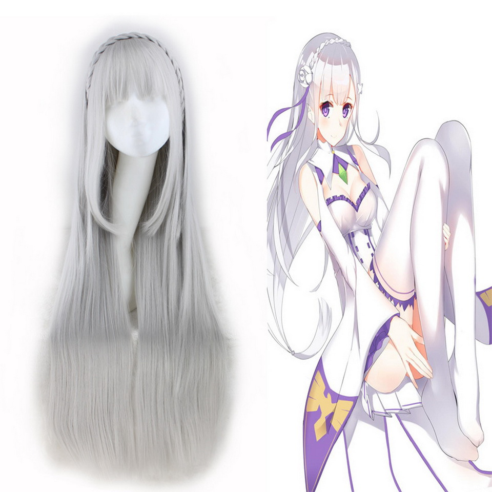 Anime Re Zero Starting Life In Another World Cosplay Wigs Echidna Cosplay Wig Heat Resistant Synthetic Wig Hair Halloween Party Costume Props Costumes & Accessories