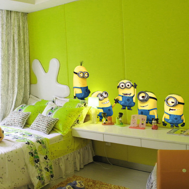 Despicable Me 2 Minions 3D Wall Sticker Decorative Wall Art Decals Minions Wall Stickers for Kids Rooms Home Decor