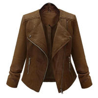 2019 spring and autumn new long sleeved motorcycle leather jacket women's wool coat Slim thin PU leather short women's jacket