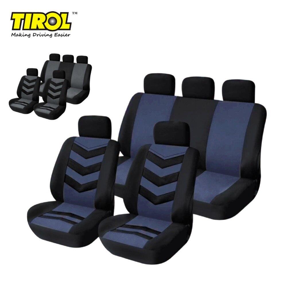TIROL Car-Seat-Cover Universal Breathable Black 9 for SUV Sedans T22552b Gray/blue 9pcs