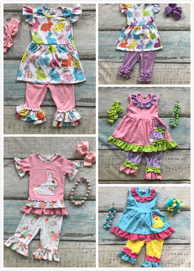 Easter design new baby girls kids boutique clothing ruffles cotton chick bunny print sets with matching accessories штаны сноубордические женские oakley new karing pant purple shade