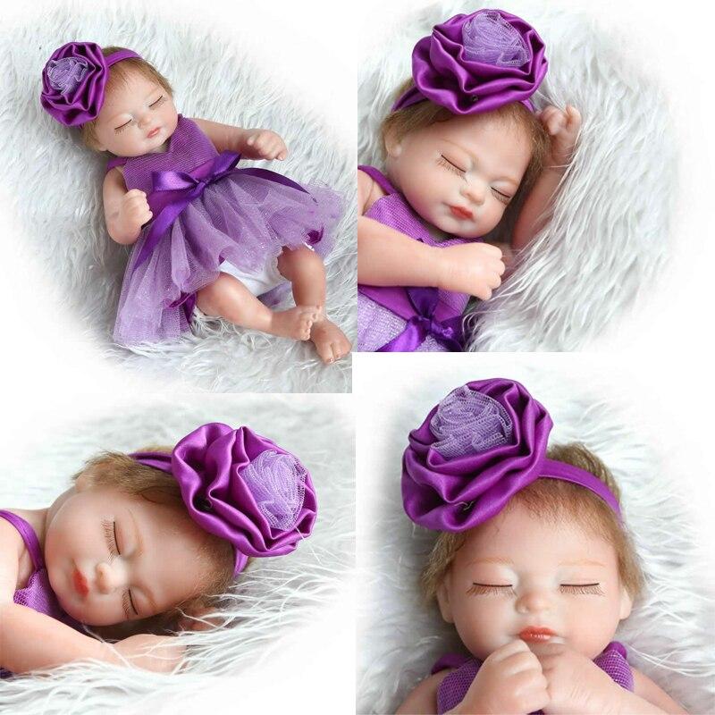 Tiny 10Inch Sleeping like A Dog font b Girl b font Doll Full Silicone Newborn Baby