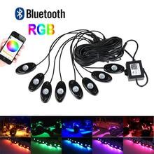 8 Vagens RGB LED Luzes de Rock Com Bluetooth Função de Controlador de LED Kit de Luz Neon para Interior e Exterior Sob Fora Do Caminhão Da Estrada Jeep