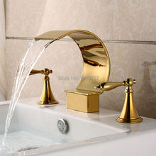 цена на 3PCS PVD Ti-gold Titanium Gold Bathroom Bathtub Basin Mixer tap Waterfall Faucet