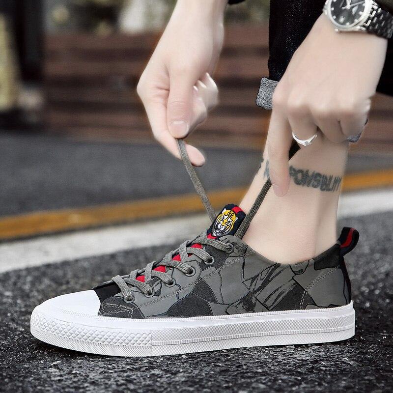 2018 Black Toile gray Casual Sauvages De Nouveaux Chaussures Marée Tendance Printemps Hommes Sneakers green rPqx7BIrw1