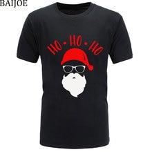 НОВАЯ РОЖДЕСТВЕНСКАЯ Милая футболка с рисунком Санта-хохо-хоу, Мужская забавная одежда, футболка, рождественские мягкие и удобные мужские футболки