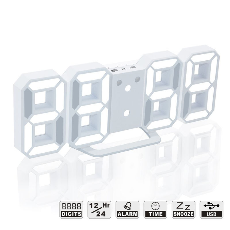 3D Digital Alarm Clock With USB Charge LED Snooze Dimmable Desktop Clocks For Living Room Home Office Decoration TB Sale