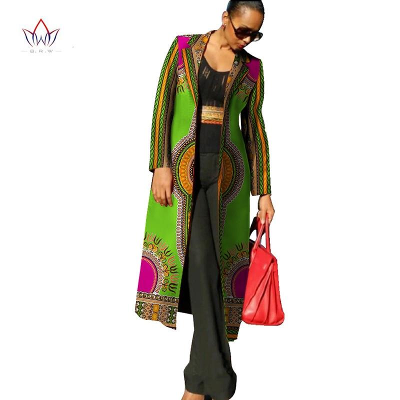 Autumn Ankara Fashions New African Dresses for Women Dashiki Print Women Trench Coat African Bazin Riche Material 6XL WY113