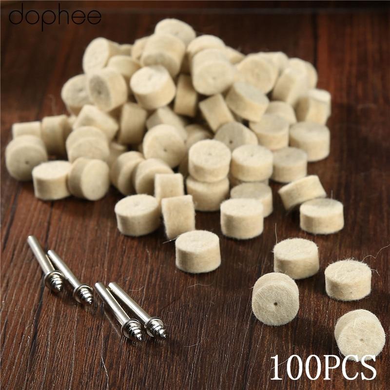 Dophee 100Pcs Dremel Accessories 13mm Wool Felt Polishing Buffing Wheel Grinding Polishing Pad+4Pcs Shank For Dremel Rotary Tool