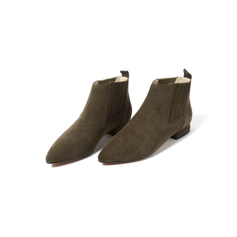 Hiver Chaussures Masgulahe Peluche Noir army Automne Cheville 2018 Dames Bottes Pointu Talon Daim Femme Faible Cuir Courte Mode Bout Green apricot En Femmes TFu1cl35KJ