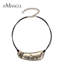 Joyería chapados en oro eManco 2 camafeo de color clásico simple en capas Gargantilla Collares Mujeres Negro Cuerda ciervos modelo del metal