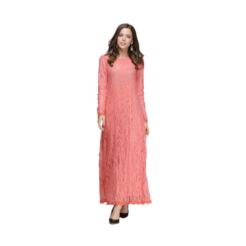 Turkish Evening Party Lace Hook Flowers Hollow Out Maxi Dress for Women