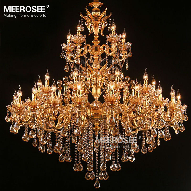 Besar Royal Emas Kristal Chandelier Lampu Pengkilap Cristal Suspensi - Pencahayaan dalam ruangan - Foto 4