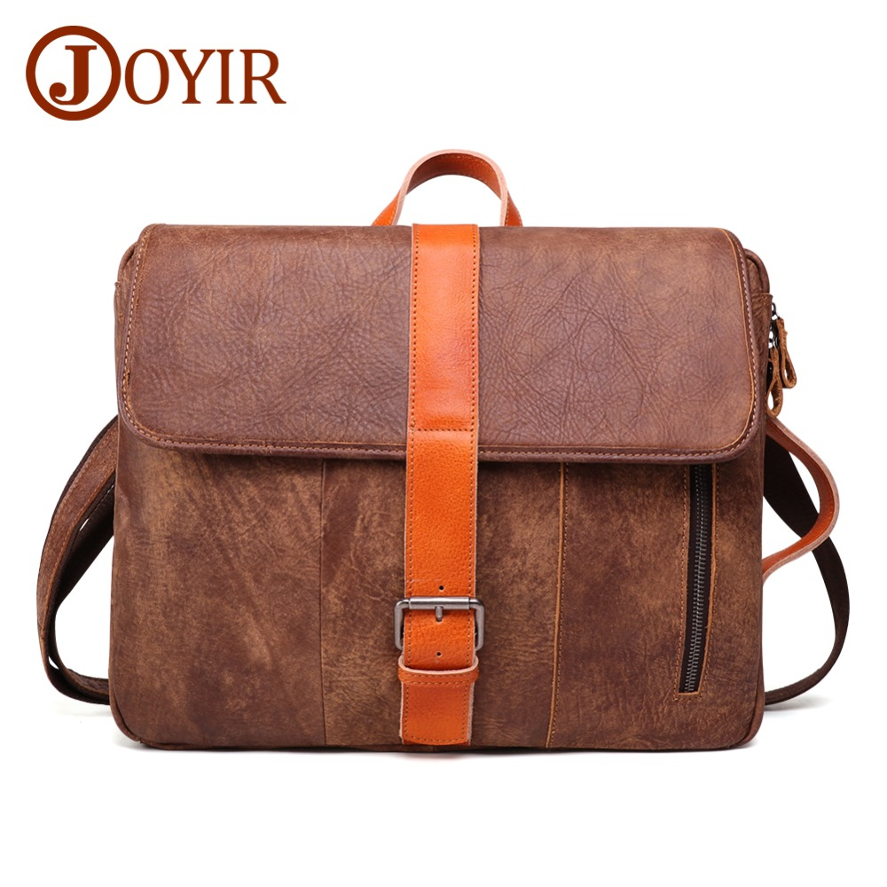 JOYIR Genuine Leather Briefcase Laptop Men Bag 14 Inch Laptop Soft Cowhide Messenger Bag Fashion Handbag Multifunction Briefcase