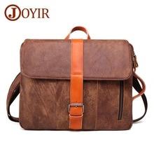 JOYIR Genuine Leather Briefcase Laptop Men Bag 14 inch Laptop Soft Cowhide Messenger Bag Fashion Handbag Multifunction briefcase