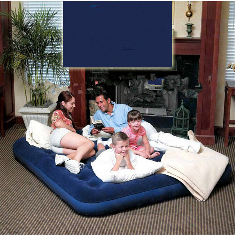 122*191*22cm double plus size air mattress set inflatable bed,camping mattress, including air pump, 2 pc air pillow new arrival blue color air mattress alternating pressure pump pad medical bed overlay hospital fit for patient