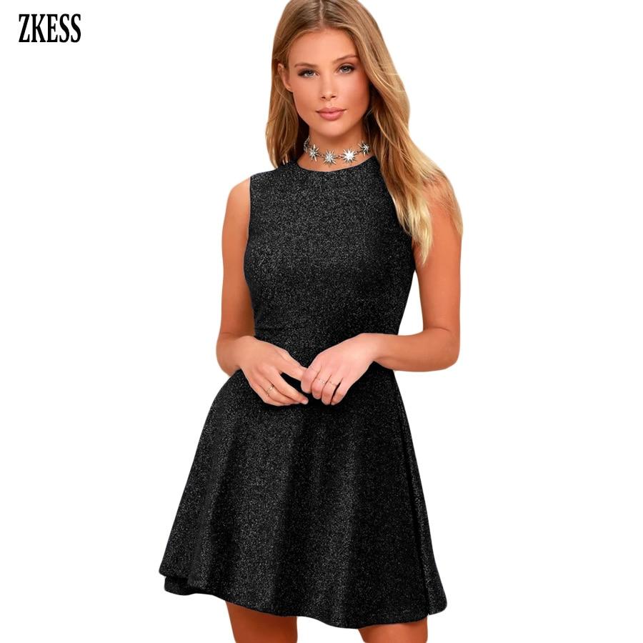 52e54627e9 Zkess Women Black Sparkling Fabric A-line Skater Dress Sweet Cute Stylish O  Neck Sleeveless