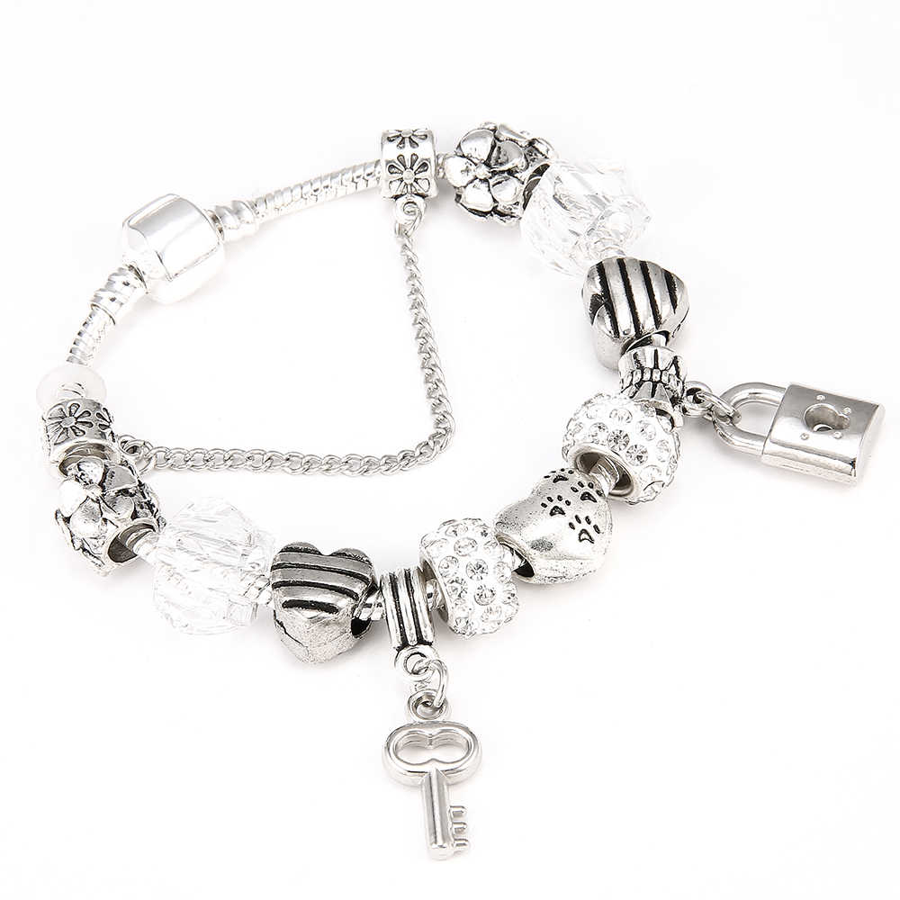 CUTEECO Romantic Love Silver Color DIY Charm Bracelet Love Heart Key and Lock Pandora Bracelet for Women Jewelry Gift