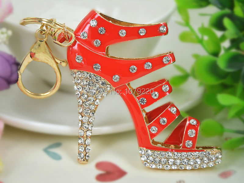 Big Red High-heeled Shoes Rings Car Keyring Fashion Jewelry Women Bag Crystal Rhinestone Charm Pendant KeyChain Gift Moda 2015