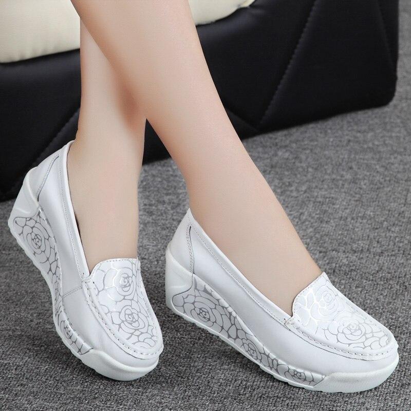 Nurse shoes genuine leather swing platform shoes female ...