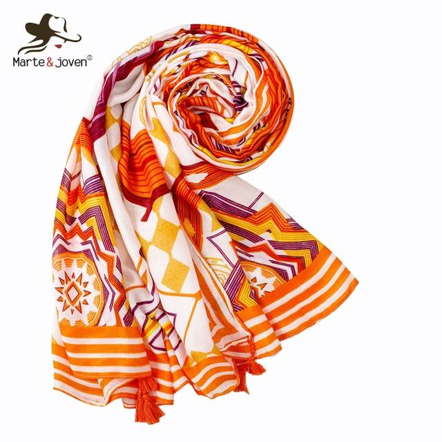 10d3cf58 € 7.29 49% de DESCUENTO|Marte & Joven moda geométrica impresión naranja  borla bufanda para las mujeres Oversize playa cubrir Pashmina mantón ...