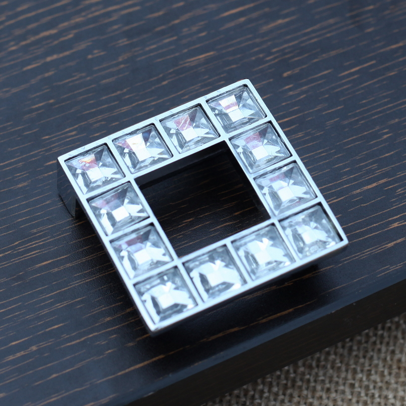 CC Size 32mm Large Kitchen Furniture Knobs New Square Crystal Pull Handle  Cupboard Wardrobe Drawer Cabinet Knob