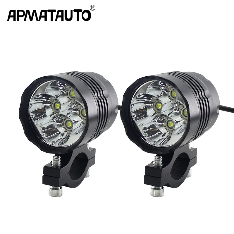 2pcs Motorcycle Headlight For T6 Chip 10W Fog Spot White Waterproof Driving Spot LED Motorcycles Electric Bicycles Light 12v-72v