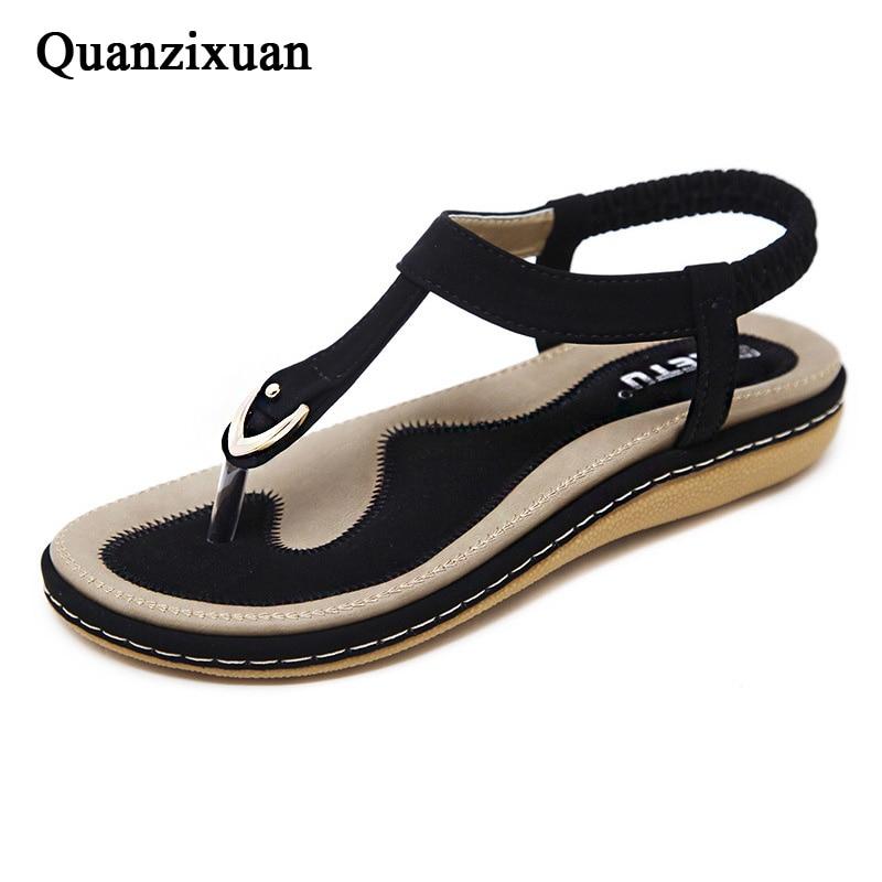 Quanzixuan New Hot Women Sandals Summer Beach Shoes Fashion Flip Flops Flat Slippers Casual Ladies Sandals
