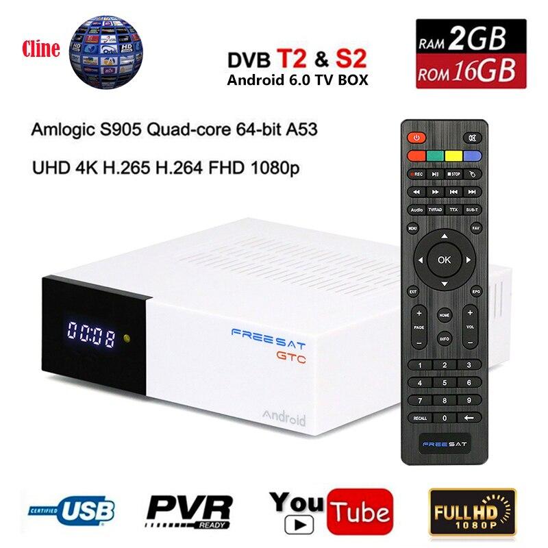 DVB-T2 Freesat GTC Receptor Satellite Decoder+USB WIFI+7 cline for 1 year HD 1080p BISSkey Powervu 4K Freesat Satellite Receiver