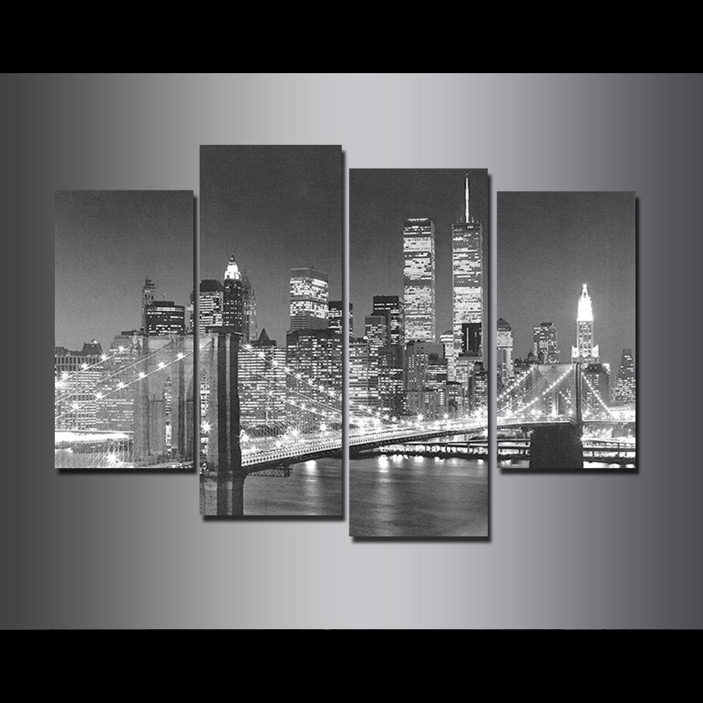 Unframed HD Canvas Prints Brooklyn Bridge Giclee Wall Decor Pictures For Living Room Decoration Mural Module Art Spray Painting