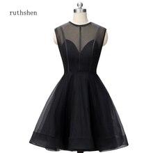 Ruthshen вечерние платье банкетные Короткие коктейльные платья Клубное платье Vestidos Verano рукав Миди Алин полупрозрачное короткое черное платье
