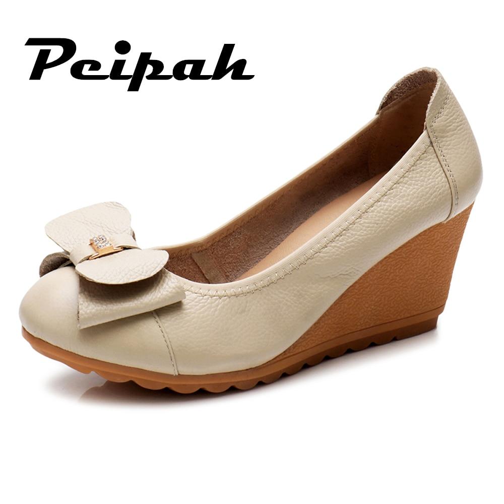 ⓪Peipah cuero genuino mujeres plataforma plana zapatos Primavera ...