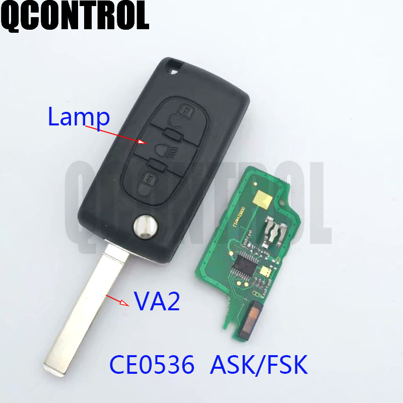 QCONTROL Vehicle Remote Key fit for PEUGEOT Partner 207 208 307 308 408 433MHz Car Lock Control (CE0536 ASK/FSK HU83)
