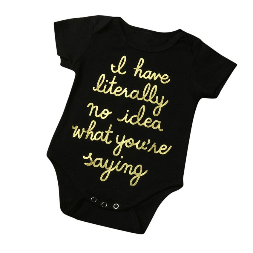 Bodysuits Mother & Kids Professional Sale Newborn Infant Toddler Baby Boy Girl Gold Letter Romper Jumpsuit Outfits Clothes Sep 7