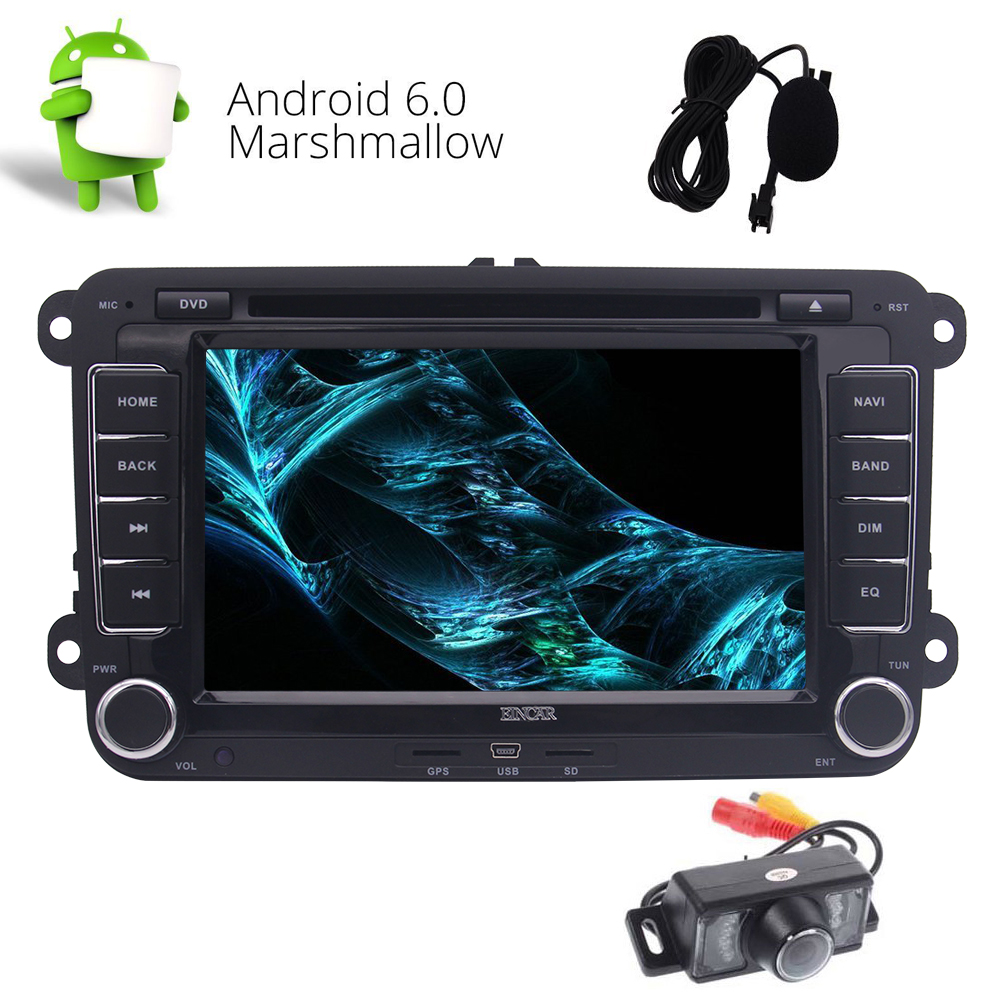 Android 6.0 System 7 Touchscreen Car Radio GPS Stereo FM/AM/RDS Bluetooth CD DVD Player USB SD Music Mirror Link for VW Camera