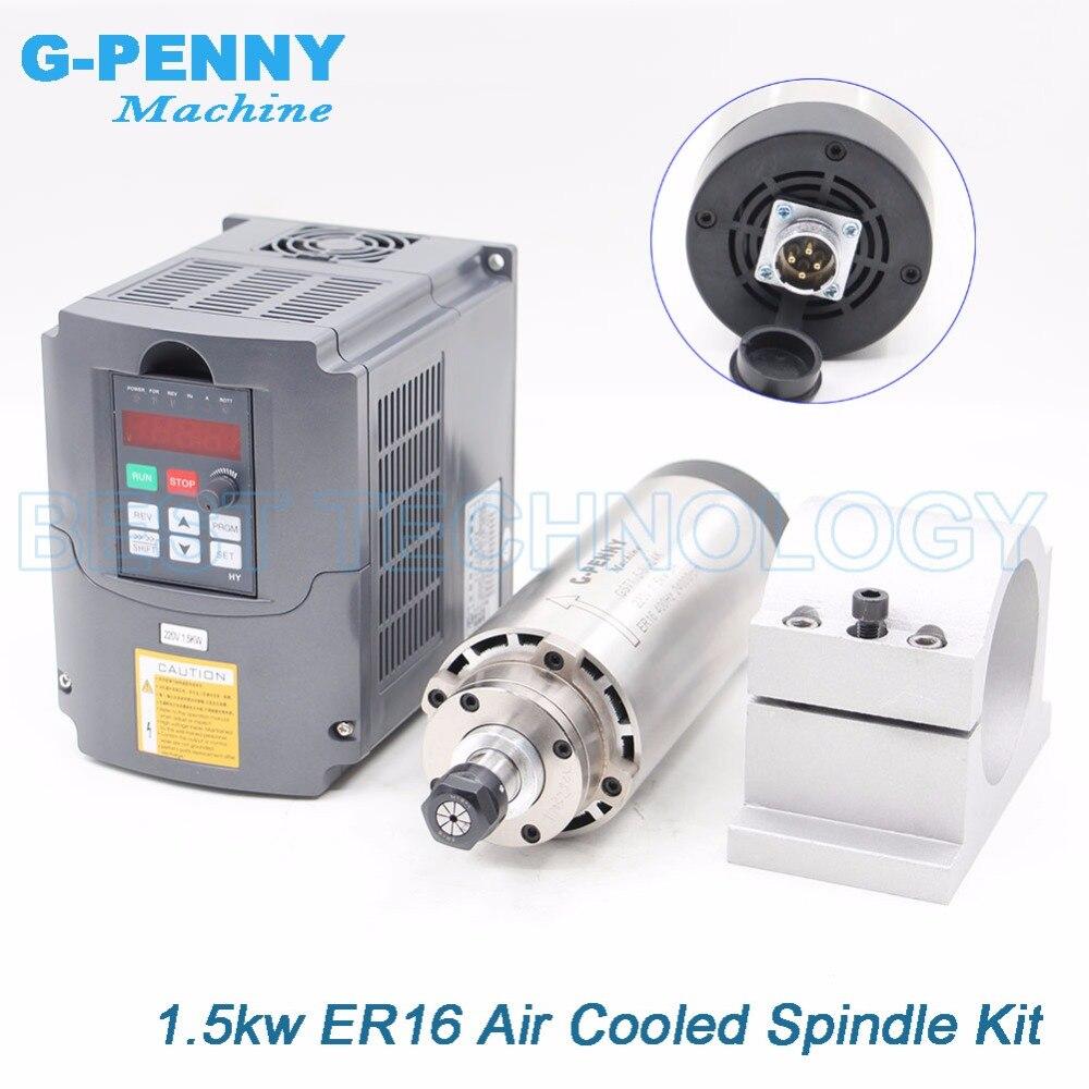 1.5kw ER16 refroidi par air moteur de broche 4 roulements air de refroidissement 1.5 kw broche de fraisage CNC et 220 v 1.5kw onduleur VFD et 80mm support