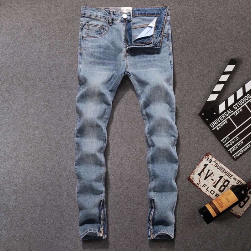 American Streetwear Men Jeans Blue Color Slim Fit Casual Denim Pants Ankle Zipper Elastic Jeans Men Hip Hop Jeans Homme