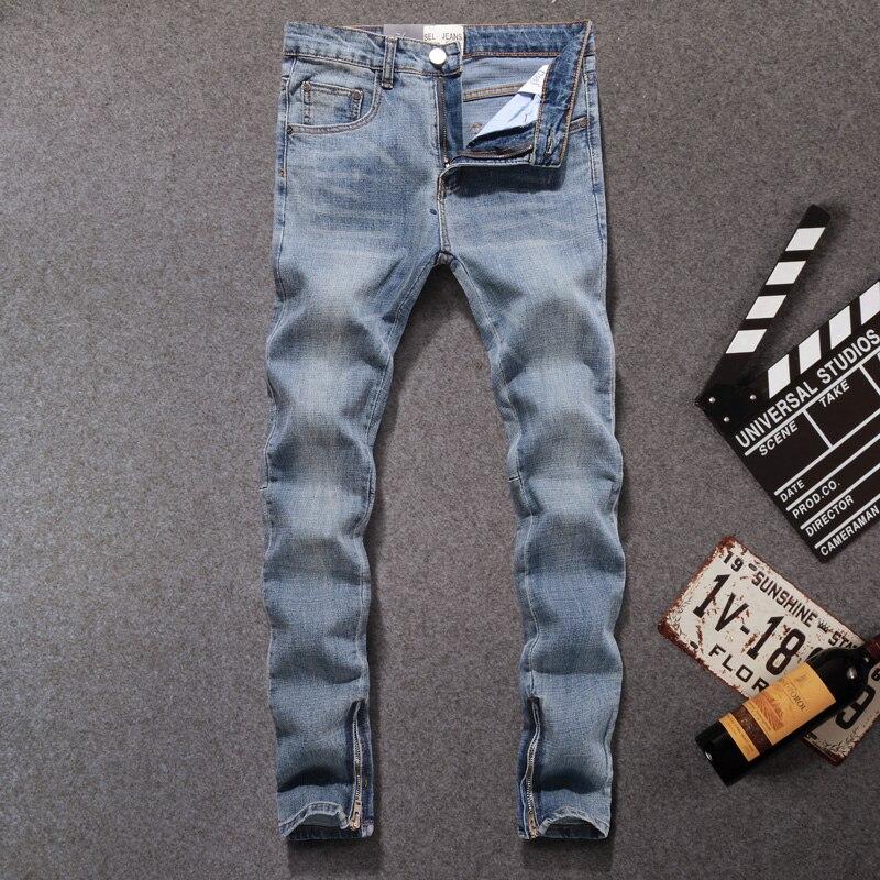 American Streetwear Men Jeans Blue Color Slim Fit Casual Denim Pants Ankle Zipper Elastic Jeans Men Hip Hop Jeans homme-in Jeans from Men's Clothing    1